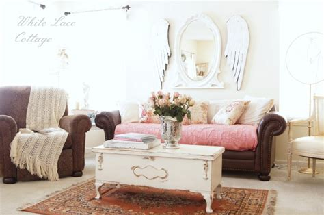 shabby chic family room charming home tour white lace cottage town country living