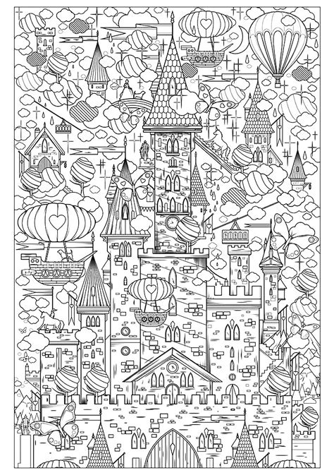 incredible castle architecture adult coloring pages