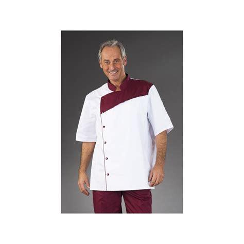 tenu cuisine tenue de cuisine blanche pastron bordeaux manches courtes