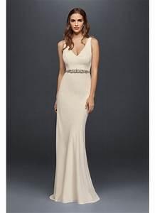 jeweled crepe sheath wedding dress with low back davids With sheath wedding dress low back