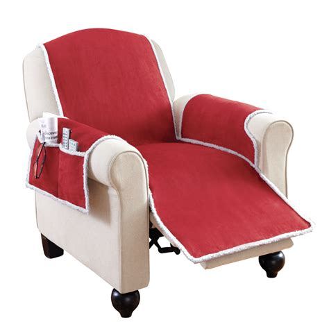 faux suede shearling recliner covers with pockets by