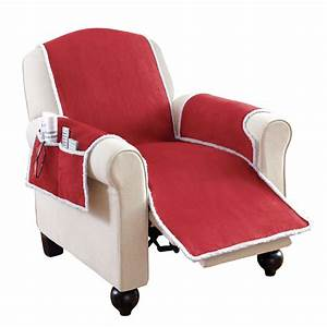 Faux suede shearling recliner covers with pockets by for Furniture covers with pockets