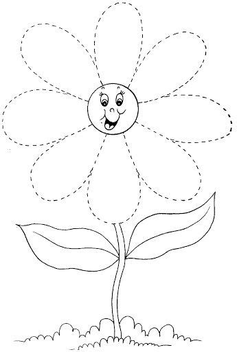 flower trace worksheet crafts and worksheets for 729 | spring flower trace 2