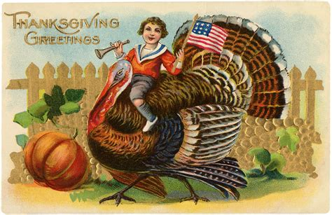 vintage turkey ride image cute  graphics fairy
