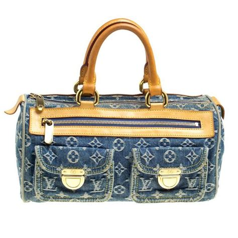 louis vuitton blue monogram denim neo speedy bag  sale  stdibs