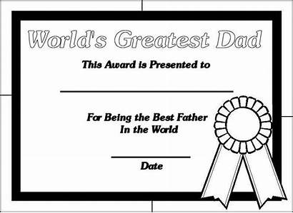 Father Coloring Dad Fathers Pages Printable Certificates