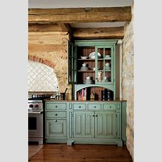 Primitive Colonial Kitchen Cabinets, Antiqued Turquoise