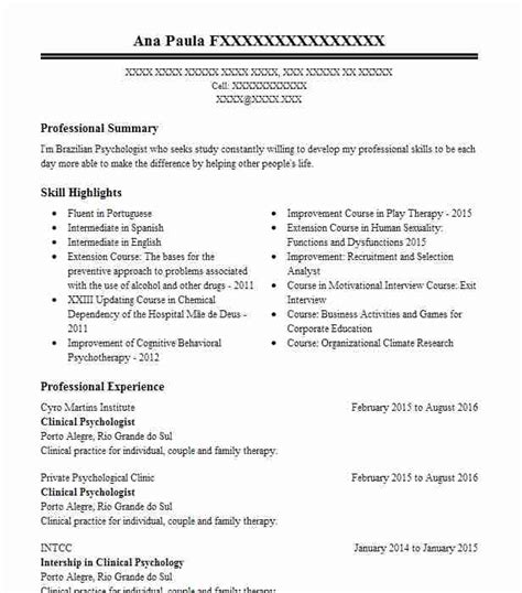 Psychologist Resume by Clinical Psychologist Resume Sle Livecareer