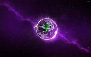 Green continent on apurple planet wallpaper - Space ...