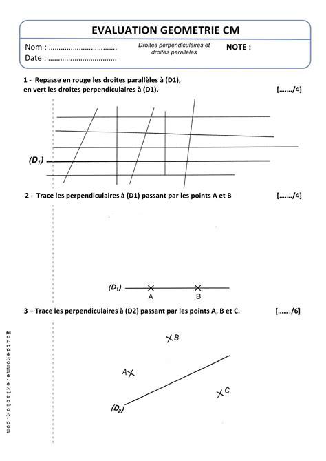 cap cuisine programme evaluation geometrie droite perpendiculaires et parallèles