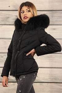 Parka Femme Vrai Fourrure : doudoune cintr e noir capuche bord e de fourrure v ritable ~ Melissatoandfro.com Idées de Décoration