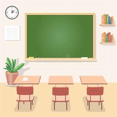 Classroom Class Chalkboard Board Desks Vector Blackboard
