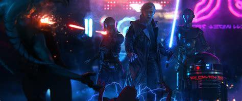 luke skywalker star wars cyberpunk lightsaber