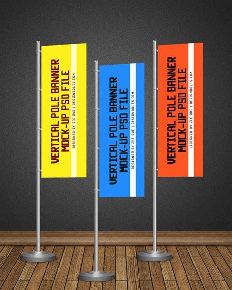 pos vertical flag pole banner mock  psd file