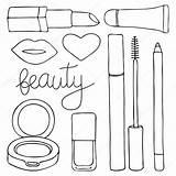 Cartoon Lipstick Cosmetic Mascara Pencil Lips Lip Drawn Cosmetics Hand Illustration Drawing Nail Doodle Gloss Vector Beauty Polish Cushion Depositphotos sketch template