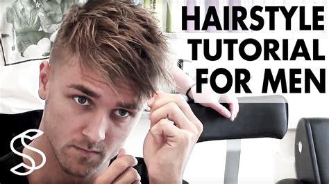 undercut texture hairstyle mens fringe hair tutorial