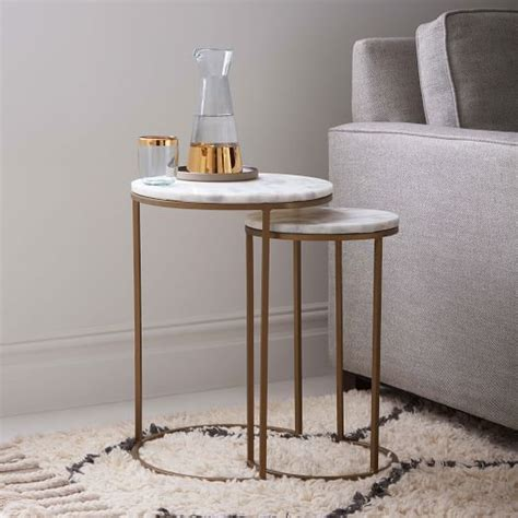 antique brass table ls round nesting side tables set marble antique brass
