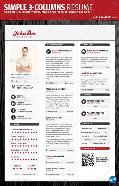 exle resume resume templates with columns