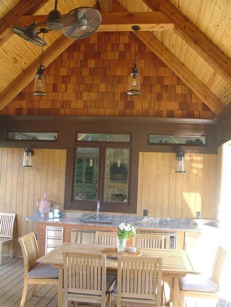 covered porch  outdoor kitchen  cedar shake cedar