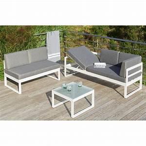 Salon Aluminium De Jardin : salon de jardin aluminium gris et blanc ~ Edinachiropracticcenter.com Idées de Décoration