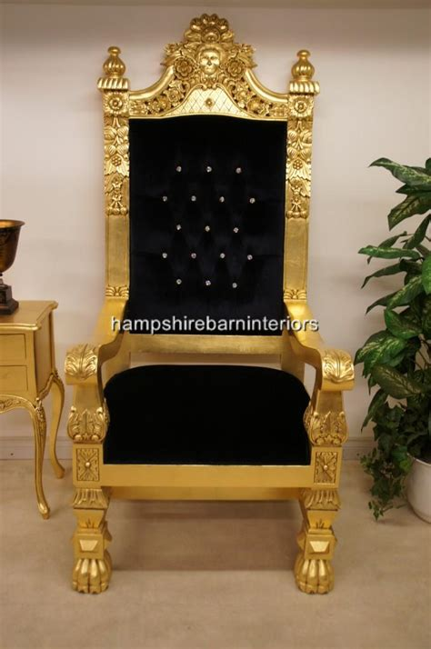 queens throne chairgold leaf black velvet  diamond crystal buttons hampshire barn