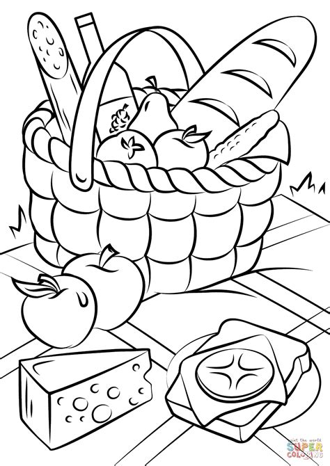 picnic basket food coloring page free printable coloring