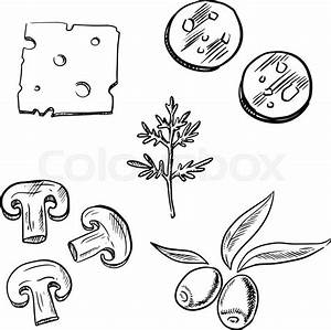 Italian pizza topping ingredients sketch icons with slices ...