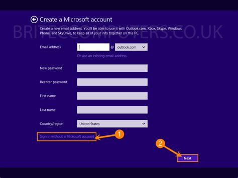 "Skip ""sign In To Your Microsoft Account"" In Windows 81 Setup"