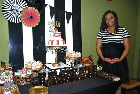 Black And Gold Baby Shower by Black White And Gold Circus Baby Shower Baby Shower