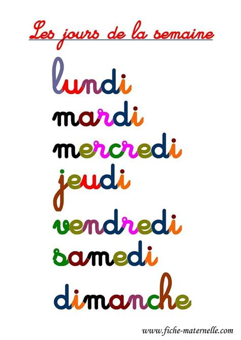 days of the week in colorful chart for your one francais