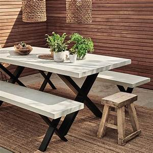 Concrete, Outdoor, Indoor, Dining, Table, With, X, Frame, By, Rust, Collections