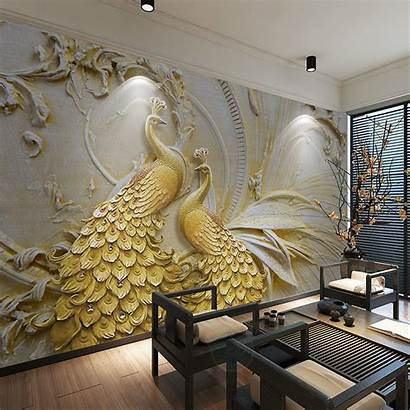 Walls Mural Peacock Murals Living Paper Bedroom