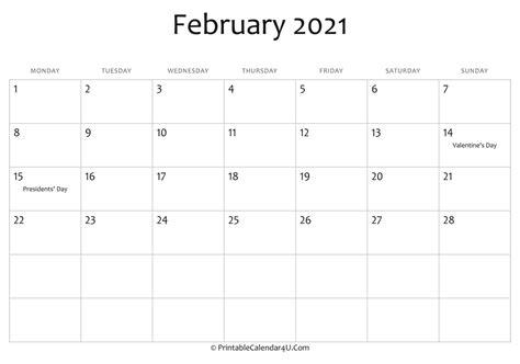 february  editable calendar  holidays