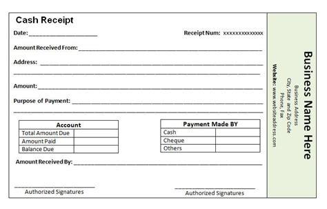 cash payment receipt template  proper receipt format