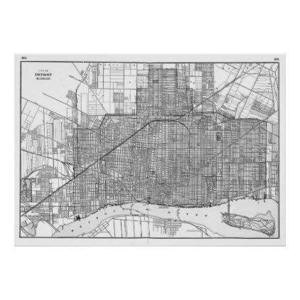 vintage map  detroit michigan  poster zazzlecom