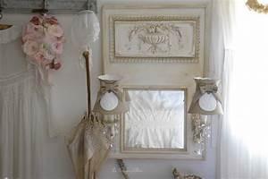 Miroir shabby chic. miroir shabby chic ornements en bois blanc