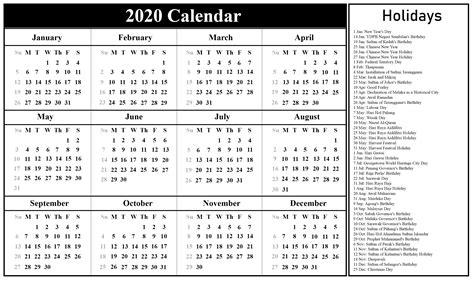 malaysia calendar   holidays  excel