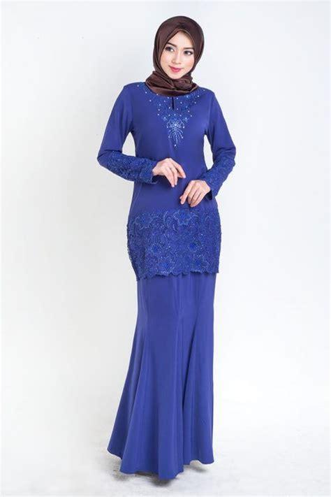 baju kurung moden lace prada royal blue kurung terkini