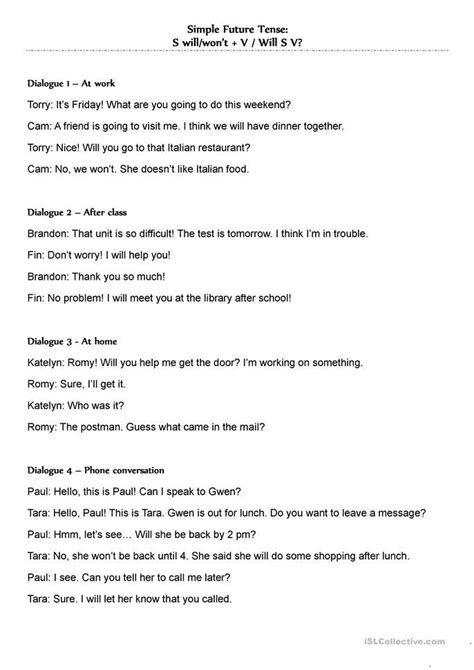 simple future tense dialogues willwont aprender ingles