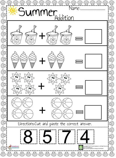 summer addition worksheet kindergarten math worksheets
