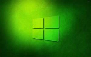 Windows 10 transparent logo on green paper wallpaper ...