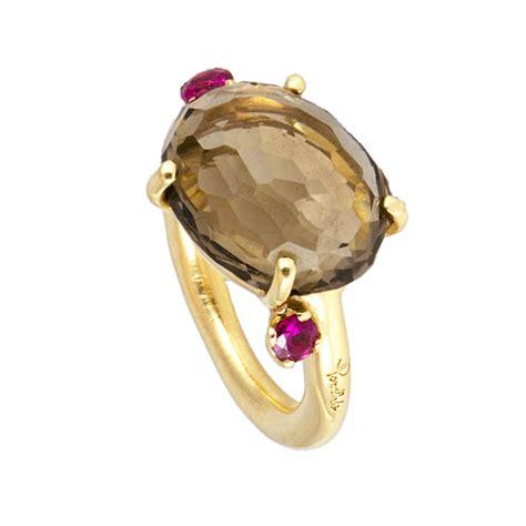gemelli uomo pomellato anello in oro rosa con quarzo fum 200 e rubini pomellato