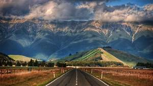 Nature, Landscape, New, Zealand, Mountain, Clouds, Hill, Trees, Road, Fence, Shadow, Hdr