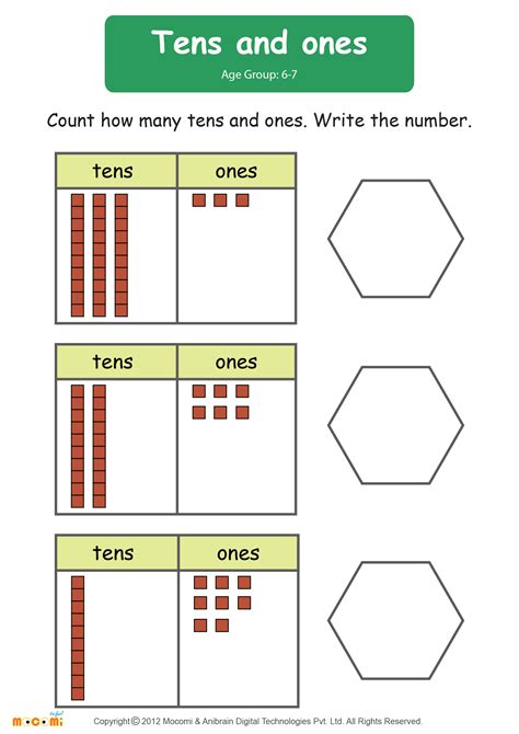 grade math worksheets tens