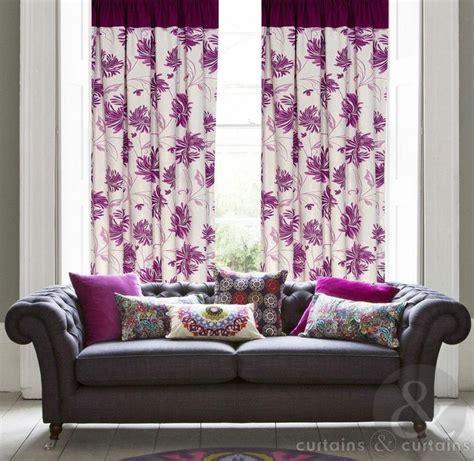 tropica purple half panama taped lined curtain