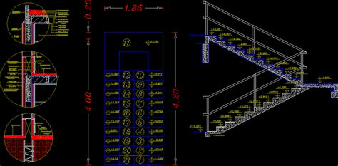 wall foundation window staircase ceiling details dwg