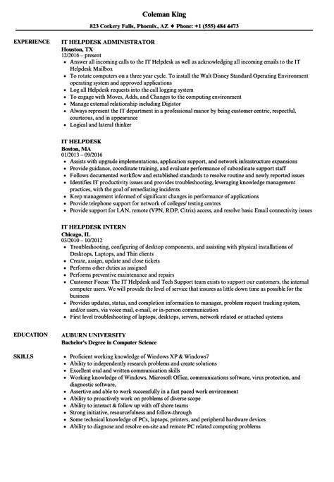 resume sle for help desk help desk associate resumes