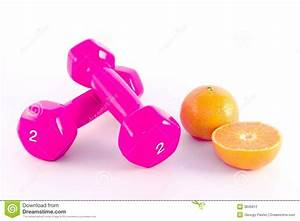 Pink Dumbbells With Orange Stock Photography - Image: 3845812