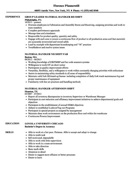Sle Resume For Material Handler by Shift Material Handler Resume Sles Velvet