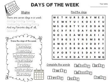 days   week activity worksheet  tatiana tpt